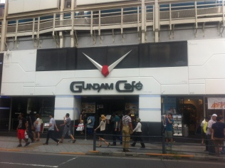 Gundam Cafe, in the flesh. The V shaped decoration is a nice touch.